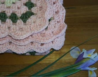 Pink green cream granny rug