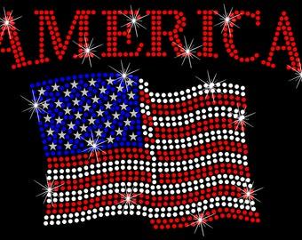 American Flag Patriotic America Rhinestone Iron On Transfer Hotfix Bling