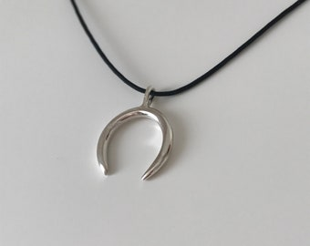 Sterling Silver Crescent Necklace on Cord, Crescent Necklace, Adjustable Cord Necklace with Crescent Moon, Cord Necklace