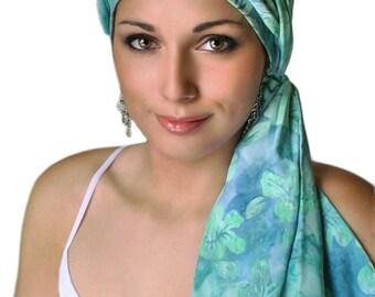 Turban Diva Hibiscus Jewel Blue Turquoise Turban Chemo Hat Head Wrap Alopecia Scarf Batik Boho, Chemo Turban, Hat & Scarf Set 103-31