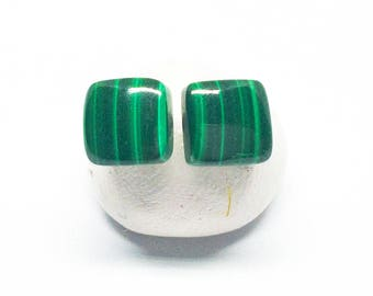 Malachite Gemstone Posts, Small Sterling Silver Earrings, Green Striped Gemstone, Square Stud Earrings, Birthday Gift, Free Shipping, E16075