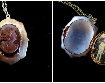 Chocolate Brown Cameo Locket Necklace