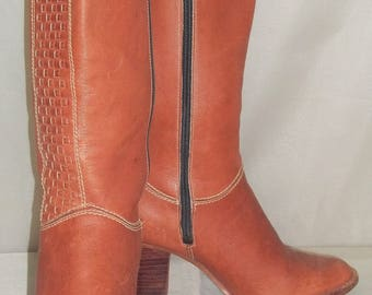 Vintage 1970's Nine/9 West Stacked Heel BOHO Womens Leather Boots 5 1/2B
