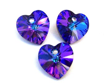 Heliotrope Swarovski crystal heart pendants, 10mm, Qty 3