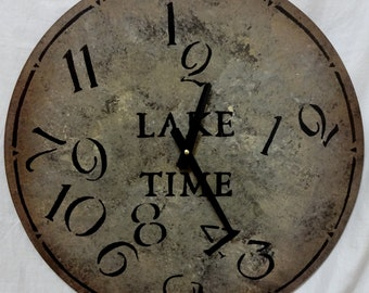 18 Inch LAKE TIME CLOCK in Bold Shades of Mixed Grays with Jumbled Numbers