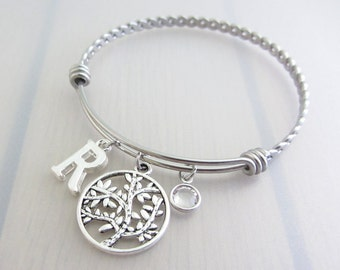 Tree Charm Stainless Steel Bangle, Birthstone Initial Bangle, Personalised Silver Letter Charm Bracelet, Nature Plant Gift, Gardeners Gift