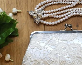 Ivory Bridal Bridesmaids Flower Lace Clutch Bag - L'HERITAGE