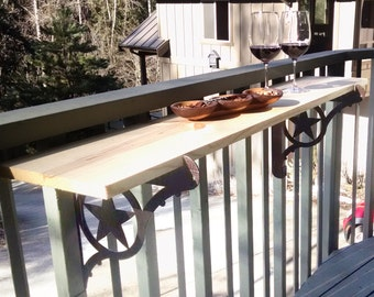Kulshan DIY Balcony Railing Table Bracket Set for Deck Bars, Countertops, Planter Box and more!  Two Step Easy Installation.