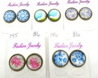 Choice of Design Flower/Tree Theme Antique Bronze Tone Button Earrings 14mm (J6n)