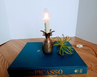 Vintage Mid Century Small Brass Pineapple Lamp