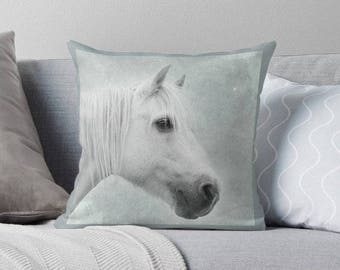Pillow cover, horse photo pillow, cushion cover, horse pillow cover, green, mint, grey, nursery decor, girls room