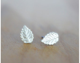 Tiny Leaf Earrings - Sterling Silver Leaf Post Earrings - Stud Earrings - Nature Jewelry