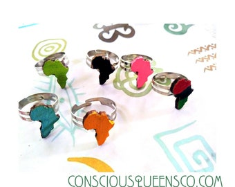 2 mini   Africa vibrant rings African Afrocentric rings