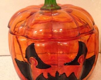 Jack-o-Lantern Glass Pumpkin hand painted.