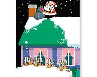 Snow Falls on Reindeer Funny Christmas Card - 18 Cards & Envelopes - KX290a