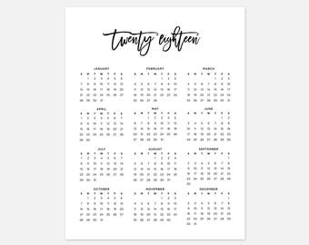 2018 Calendar, Simple Calendar, 2018 Year Calendar, 2018 Calendars, 2018 Year Planner, Wall Calendar, Printable Calendar, 2018 At a Glance