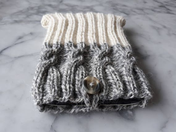 Tablet cover: knit tablet cozy in pure wool. Tablet sleeve. Great gift for him. Gift for her. Made in Ireland. Original design. Tablet cosy.