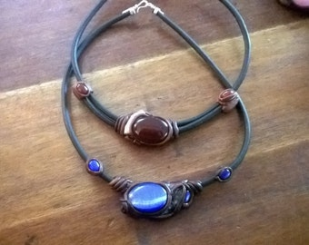 leather glass stonesnecklace