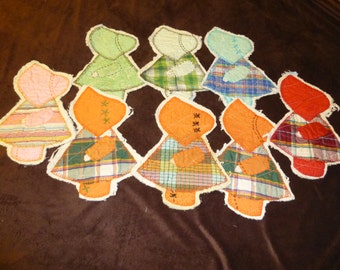 Sunbonnet Sue Vintage Quilt Pieces Lot of 8