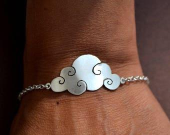 Silver adjustable bracelet 925/1000 collection autumn cloud pendant on chain