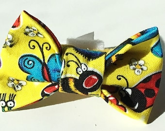 Yellow Summer Bow Tie with Insects for Male Dog or Cat