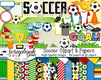 SOCCER Clipart and Papers Kit, 31 png Clip Arts, 20 jpeg Papers Instant Download goal post net soccer ball flame trophy flag sports futbol