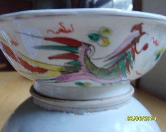 Vintage Chinese Bowl Dragon and Phoenix, Chinese Soup Bowl, Footed Bowl,  Chinese Pottery,