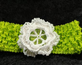 Hairband with Crochet Button Flower