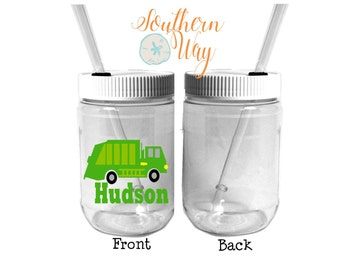 Plastic Mason Jar Cups - Party Favor - Plastic Cups - Birthday Party Favor - Wedding Party Favor - Waste Management - Garbage Truck