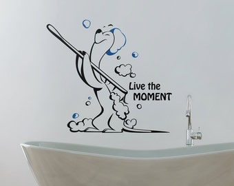 Wall decal bathroom, cute adorable animal wall decal, inspirational decals, wall decal quote