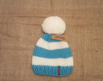 Pighouse adult chunky knit handmade blue and white striped cosy winter bobble hat with extra large pom pom. Vegan Friendly.
