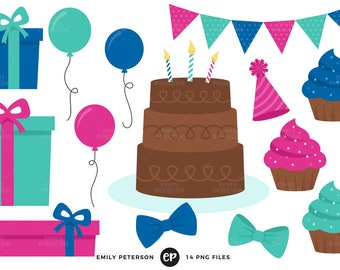 50% OFF SALE! Birthday Party Clip Art, Birthday Presents Clipart, Cake Clip Art - Commercial Use, Instant Download - V1