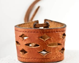 Leather Jewelry Cuffs Bracelets For Women Tan Leather Brown Leather