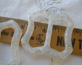 "Silver & Gold Flake Glitter buckle frosted plastic Scarf Slide 55MM 2 /18"" lucite 1.25"" opening t-shirt slide novelty retro ribbon embellish"