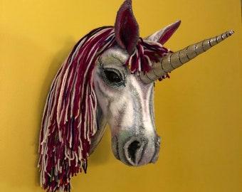 Unicorn Head Wall Hanging (Faux Taxidermy)
