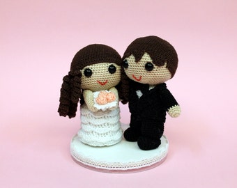 Amigurumi bride and groom wedding dolls wedding gift wedding decoration cake topper