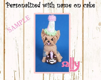 Grey and Tan Yorkie Yorkshire Terrier BIRTHDAY dog - Name on Heart -OOAK Clay Cake Topper art by Sally's Bits of Clay Original Sculpture