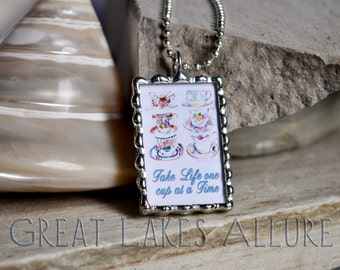 Glass Tile Pendant, Teacup Charm, Quote Pendant, Word Charm, Quote Bauble, Inspirational Jewelry, Tea Lover Gift, Jewelry with Quote