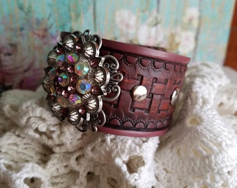 RhiNeStoNe Concho Cuff Bracelet> #Pink #BrownLeather #WesternJewelry #HandPainted #Distressed #CountryChic #Boho #Love #Native