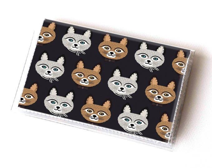 Vinyl Card Holder - Big Meow1 / card case, snap, vinyl wallet, women's wallet, small wallet, cat wallet, cat lady gift, stocking stuffer