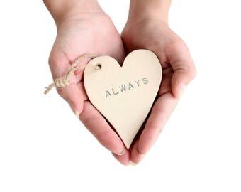 Ceramic Hearts / white ceramic ornaments . love heart . love always . autism awareness . autism heart