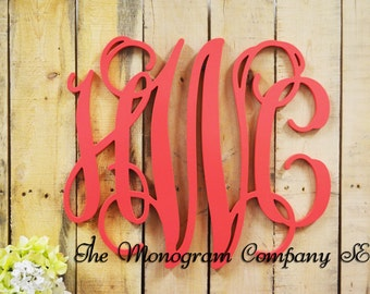 Painted Wooden Monogram - Monogram Wall Hanging - Wedding Monogram - Wooden Letters - Nursery Decor - Vine Script Wooden Monogram