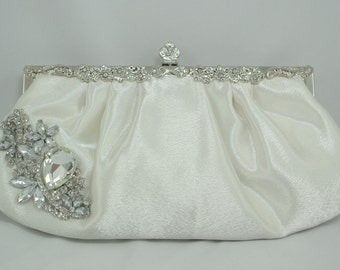 Ivory Bridal Clutch, Crystal Wedding Clutch, Wedding Handbag Swarovski Crystal Clutch Bridal Handbag Formal Satin Clutch Ivory Wedding Purse