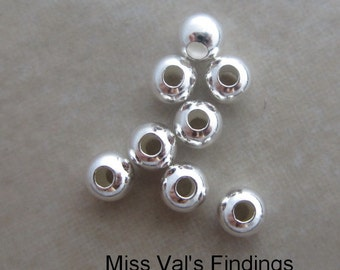 20 sterling silver 4mm smooth round beads