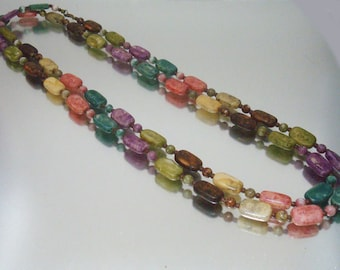Multi Color Faux Stone Bead Necklace Rectangle and Round