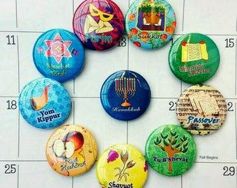 Jewish Holidays Magnets, Calendar magnets, Jewish Art, Jewish Gifts, Jewish holidays gift ideas, Hanukkah Menorah, Passover, High Holidays