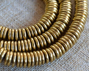 Metal Bead Brass 6x2mm Rondelle Spaces 16in Strand Heishi Coin Beads