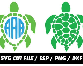 Sea turtle Monogram svg clipart, digital – svg eps png dxf - Fabric Cut Print Mug Shirt Decal Active