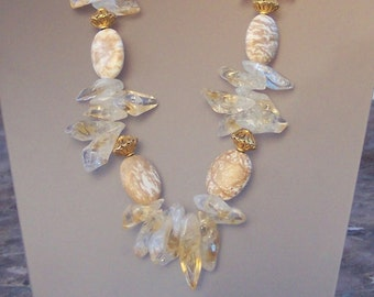 Citrine Nuggets with Howlite and Vermeil Beads