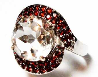 """White quartz ring, red and white ring, cocktail ring, quartz, garnet, red, white, s 7 3/4 """"Pocket full of poseys"""""""